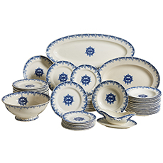 """A Partial Dinner Service """"Au Pauvre Diable"""" from Avallon, France"""