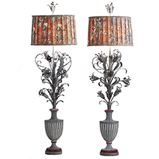 A Pair of French Tole and Cast Iron Floor Lamps, circa 1900 dawn hill swedish antiques