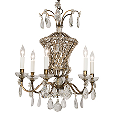 A French Bagues Style Six Light Chandelier, circa 1930 Dawn Hill Swedish Antiques
