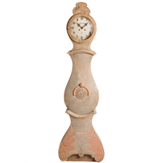 An Antique Swedish Mora Clock with Carved Details, circa 1800