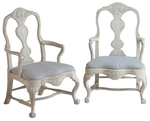 A Pair of Swedish Rococo Period Armchairs, circa 1760