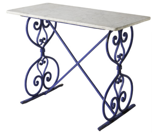 A French Marble Top Butchers Table With Ornate Blue Base Circa 1880