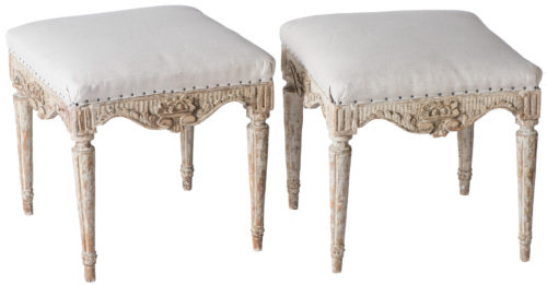 A Pair of Swedish Gustavian Period Footstools Circa 1780