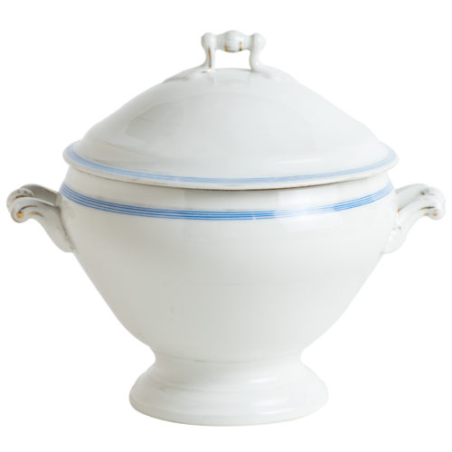 A French White Ironstone Soup Tureen With Blue Stripe Circa 1900