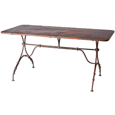 A French Wrought Iron Table With Metal Top from Alsace Circa 1890