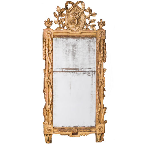 An Important French Louis XVI Period Giltwood Mirror With Bow