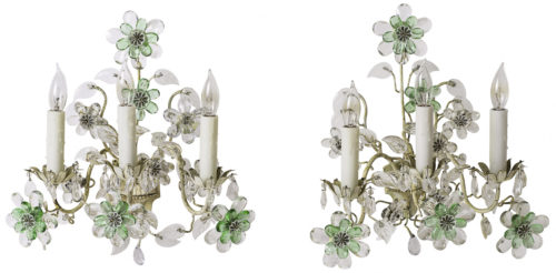 A Pair of French Crystal Flowers Sconces Circa 1940
