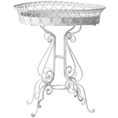 A White French Wrought Iron Jardiniere With Liner Circa 1900