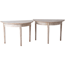 A Pair of Swedish Late Gustavian Period Demilunes Circa 1800
