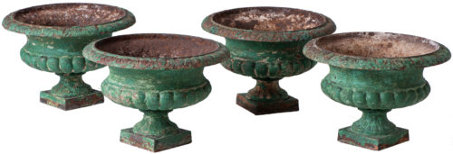 A Set Four French Cast Iron Garden Urns Circa 1900