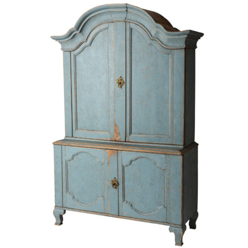 A Swedish Rococo Period Blue Painted Three-part Cupboard Circa 1760