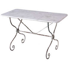 A French Marble Top Bistro Table With Wrought Iron Base Circa 1900