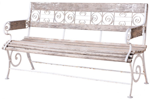 A French Wood and Wrought Iron Garden Bench Circa 1900