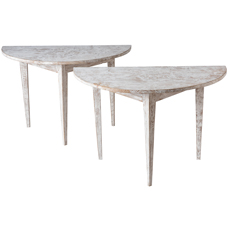 A Pair of White Painted Swedish Demi-lune Tables Circa 1900