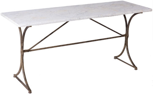 A 19th Century French Marble Top Table With Hand Wrought Iron Base