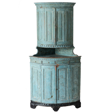 A Swedish Gustavian Period Blue Painted Two-part Corner Cupboard Circa 1780