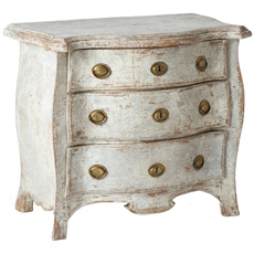 A Rococo Period White Painted Three Drawer Chest Circa 1760