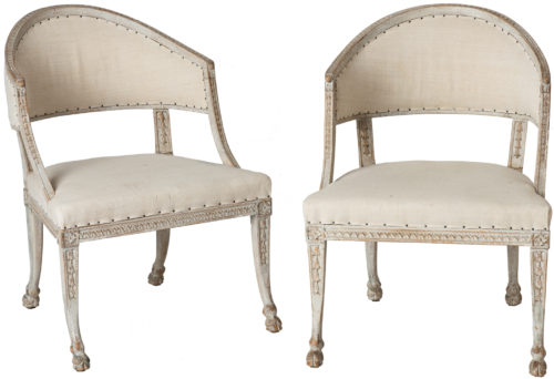 A Pair of Swedish Gustavian Style Barrel Back Chairs With Hoof Feet Circa 1880