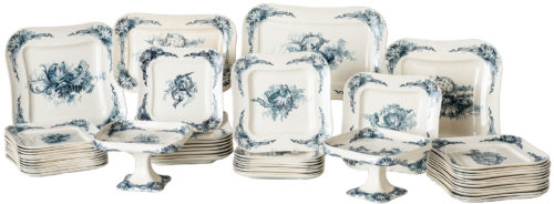 A Partial Dinner Service in a Shell and Ribbon Design from H.b & Cie, Choissy Le Roi, France, Circa 1930