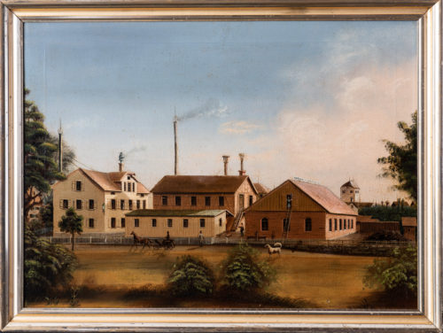 A Northern European oil on canvas painting of a factory complex circa 1850