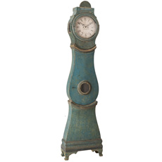 A Swedish Tall Case Mora Clock in the Original Blue Paint Circa 1800