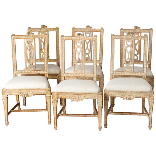 "A Set of Six Swedish Lindome ""Gunnebo"" Dining Chairs circa 1790"
