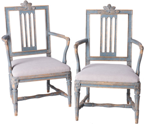 A Pair of Swedish Lindome Armchairs Circa 1800