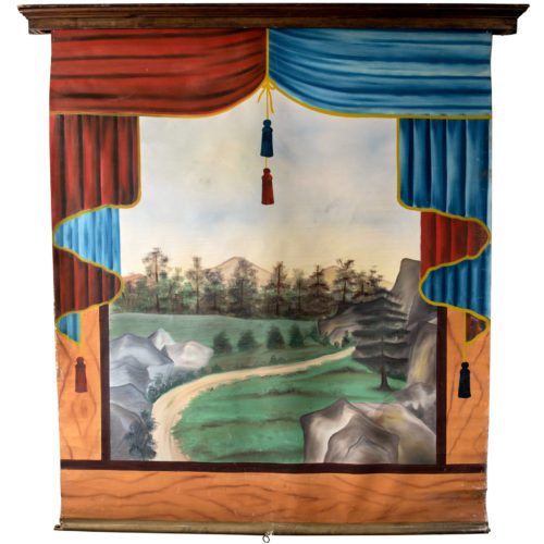 A Late 19th Century Oil on Canvas Photographer's Roll-up Backdrop