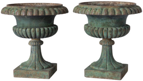 "A Rare Pair of Swedish Cast Iron Urns, Signed ""husqvarna No.1"", Mid 19th Century"