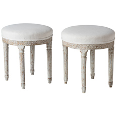 A Pair of Swedish Gustavian Period Footstools in Original Paint Circa 1790