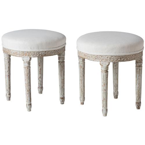 swedish antique white round footstools