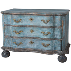 A Swedish Baroque Period Chest of Drawers in Original Blue Paint Circa 1760