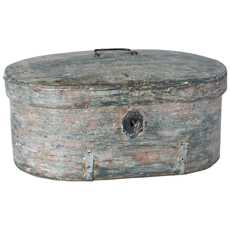 A Swedish Wooden Travel Box in Original Blue-grey Paint With Key, Circa 1780