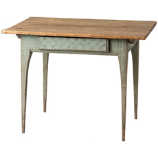 A Swedish Country Table With Original Green Paint and Scrubbed Top, Circa 1800