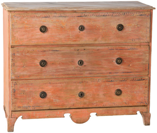 A Swedish Three Drawer Chest in Original Coral Paint, Circa 1810