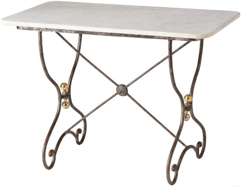 A French Marble Topped Table with Silvery Metal Base and Brass Details Circa 1900
