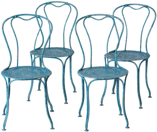 A Set of Four French Wrought Iron Garden Chairs in a Blue-green Paint, Circa 1900