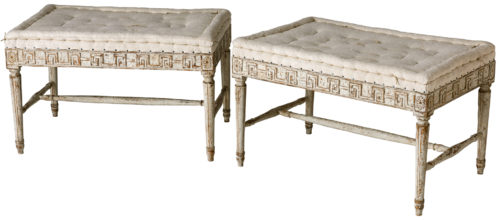 A Pair of Swedish Late Gustavian Period Benches in Original White Paint Circa 1820