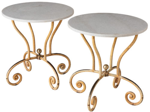 A Pair of French Side Tables with Round White Marble Tops and Iron base