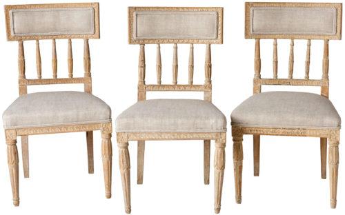 A Set of Three Swedish Gustavian Period Chairs in Original Paint Circa 1800