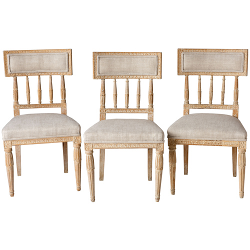 3 curved back chairs