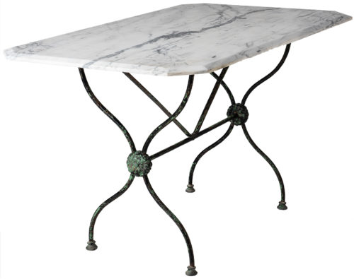 A French Late Nineteenth Century Garden Table with Marble Top
