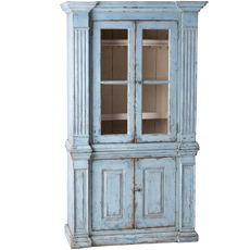A French Blue Painted Cupboard with Glass Doors Circa 1840