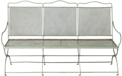 A French Wrought Iron Garden Bench with Original Green Paint, Circa 1920