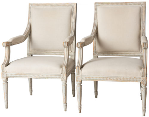 A Pair of Swedish Late Gustavian Period Stockholm Armchairs Circa 1800