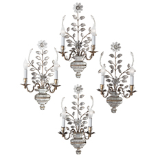 Four French Maison Baguès Two-Light Sconces, Circa 1940