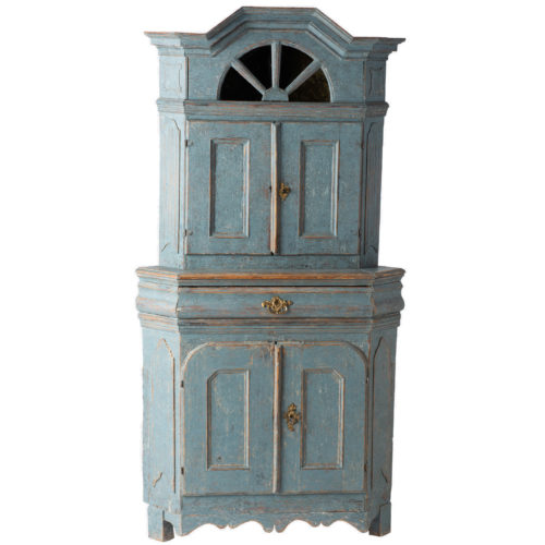 swedish blue baroque cupboard antique