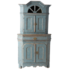 A Swedish Baroque Period Blue Painted Corner Cupboard with Original Glass, Circa 1760