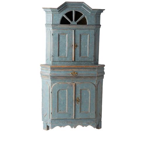 Blue Baroque Corner Cupboard