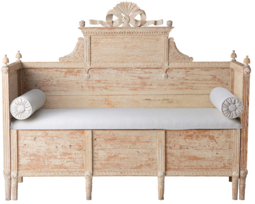 A Swedish Gustavian Period Bench in Original Paint with Elaborate Bow, Circa 1790